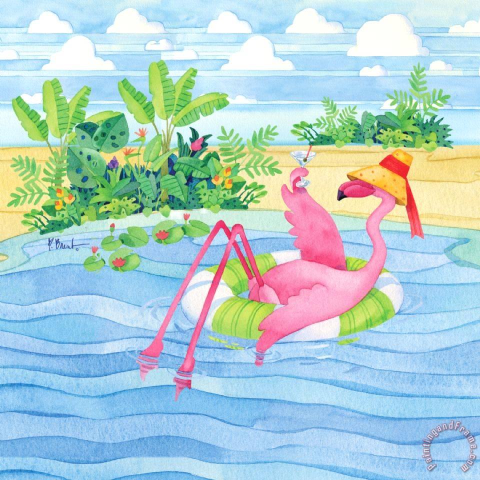 Paul Brent Martini Float Flamingo Painting Martini Float