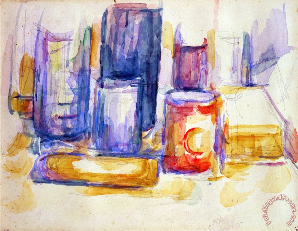 A Kitchen Table Pots And Bottles 1902 1906 painting - Paul Cezanne A Kitchen Table Pots And Bottles 1902 1906 Art Print