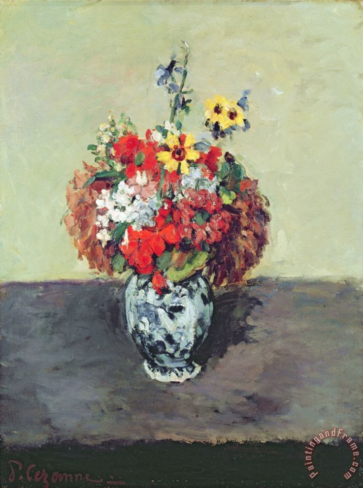 Paul Cezanne Flowers In A Delft Vase C 1873 75 Painting