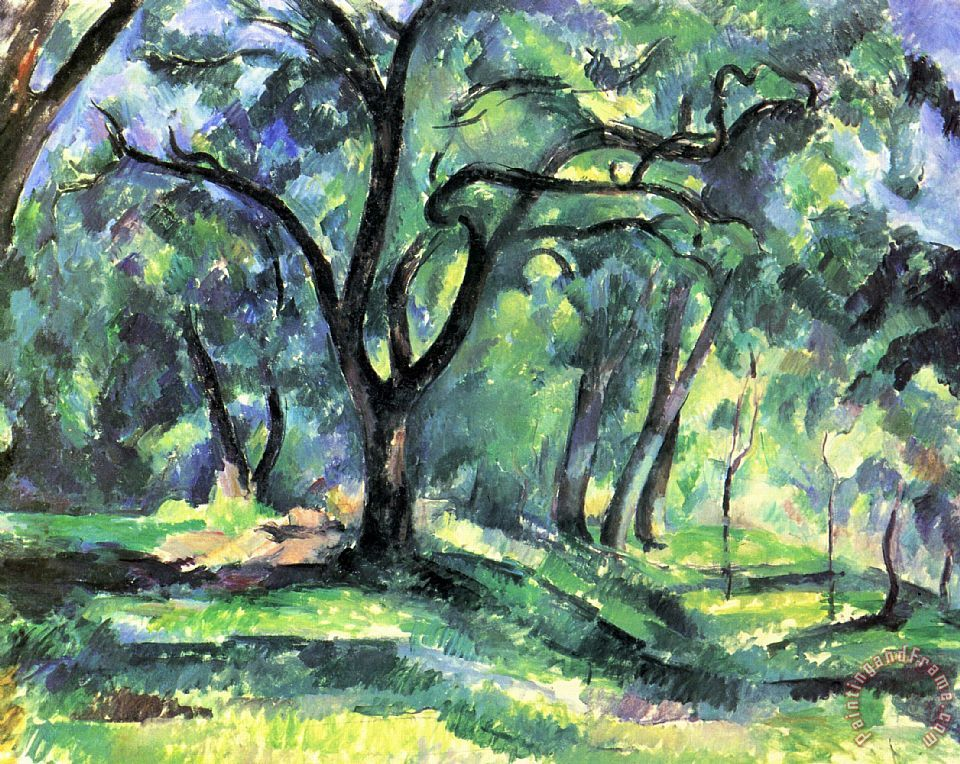 Forest painting - Paul Cezanne Forest Art Print