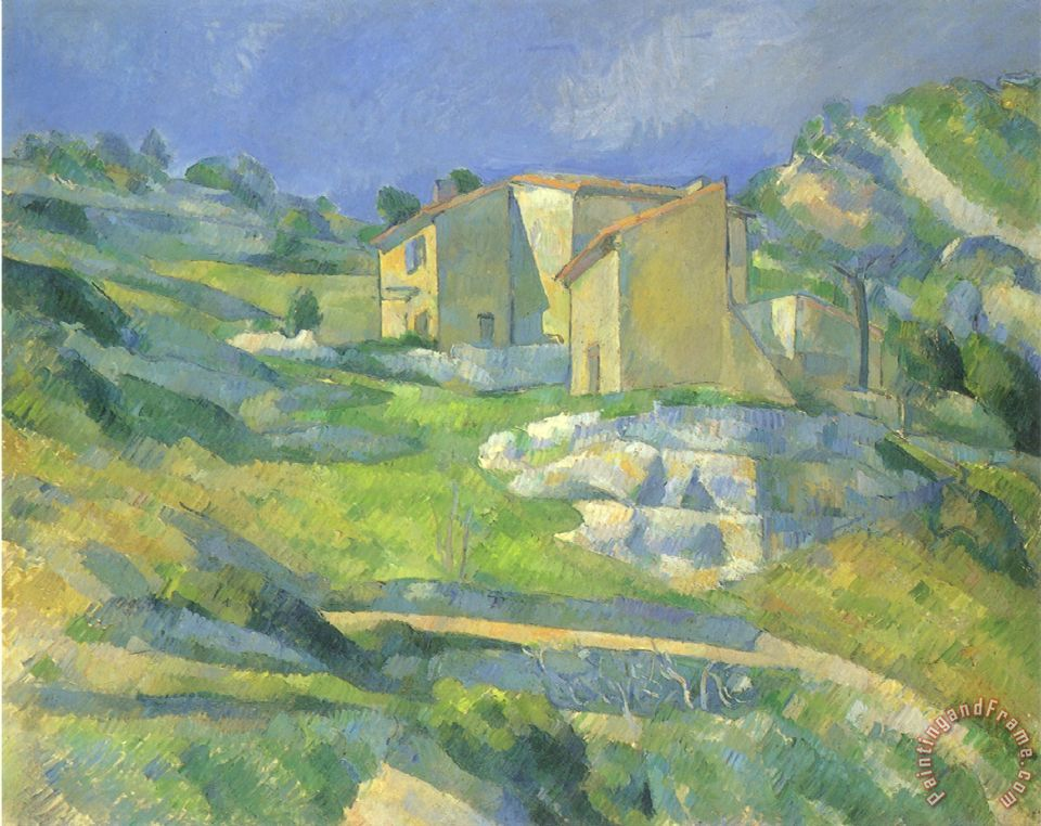 paul cezanne houses in provence 1880 painting houses in. Black Bedroom Furniture Sets. Home Design Ideas