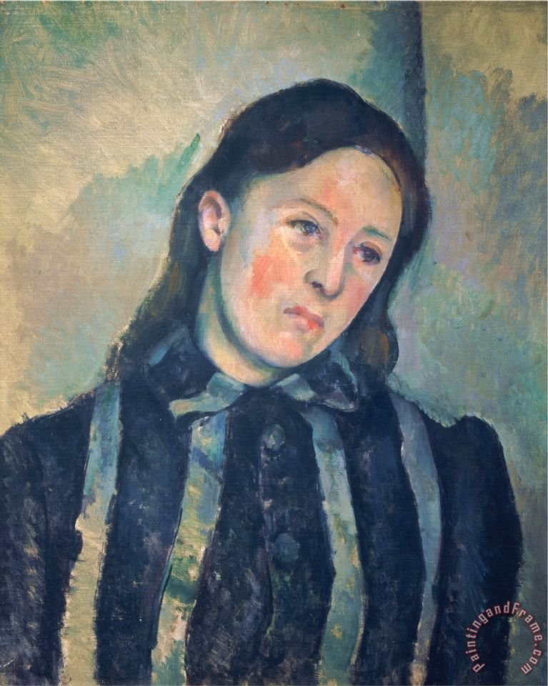 Paul Cezanne Portrait of Madame Cezanne with Loosened Hair 1890 92 Art Print
