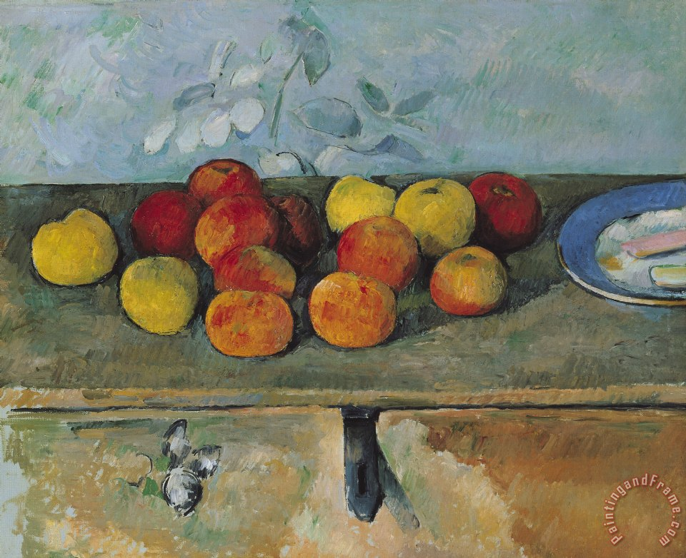 Paul Cezanne Still life of apples and biscuits Art Print