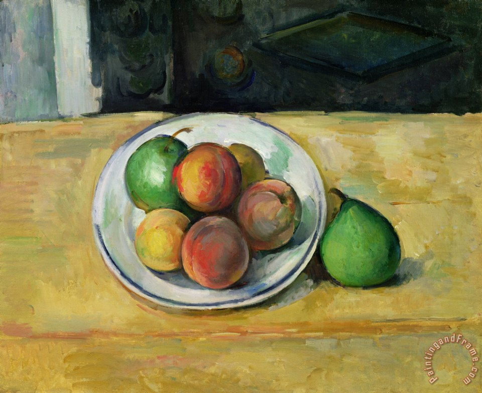 Still Life with a Peach and Two Green Pears painting - Paul Cezanne Still Life with a Peach and Two Green Pears Art Print