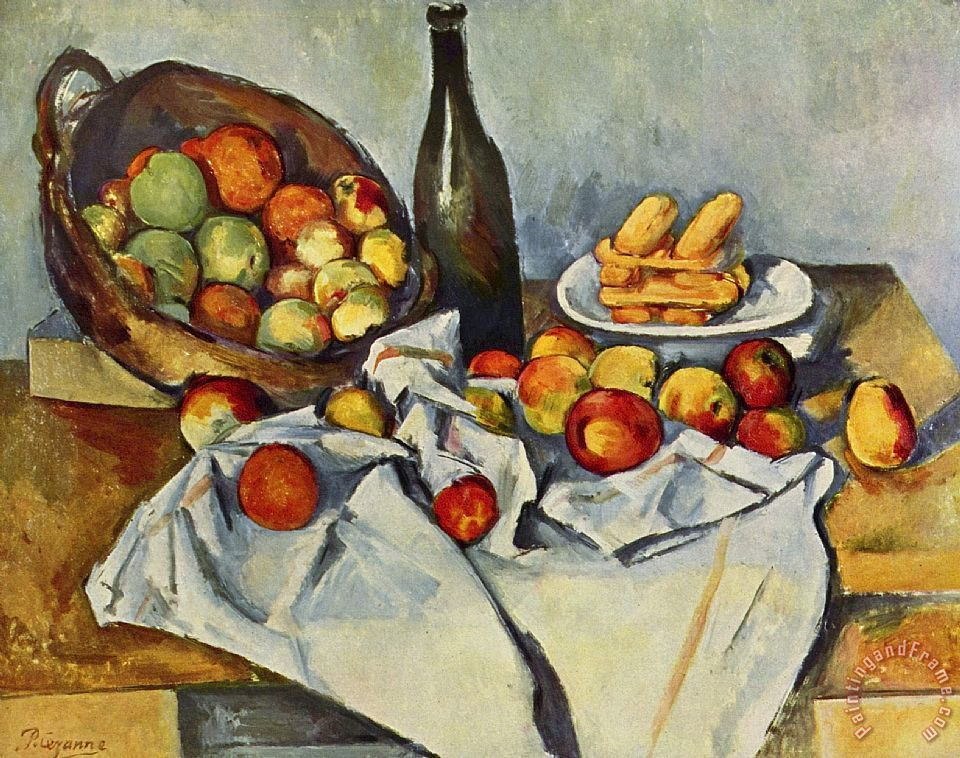 Still Life With Bottle And Apple Basket painting - Paul Cezanne Still Life With Bottle And Apple Basket Art Print