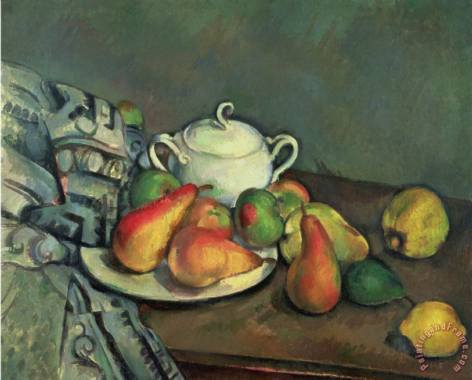 Still Life with Sugar Basin And Fruit painting - Paul Cezanne Still Life with Sugar Basin And Fruit Art Print