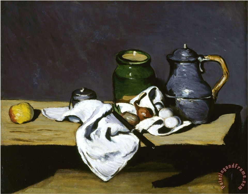 Still Life with Teapot C 1869 painting - Paul Cezanne Still Life with Teapot C 1869 Art Print