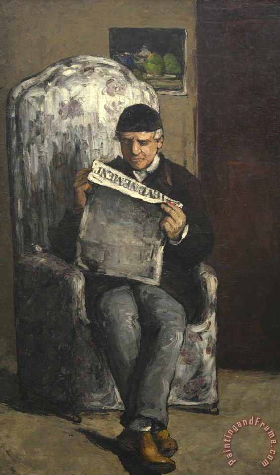 The Artists Father Reading L Evenement painting - Paul Cezanne The Artists Father Reading L Evenement Art Print