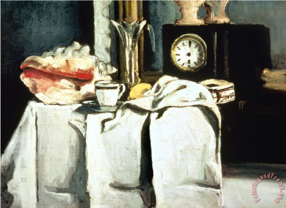 The Black Marble Clock C 1870 Oil on Canvas painting - Paul Cezanne The Black Marble Clock C 1870 Oil on Canvas Art Print