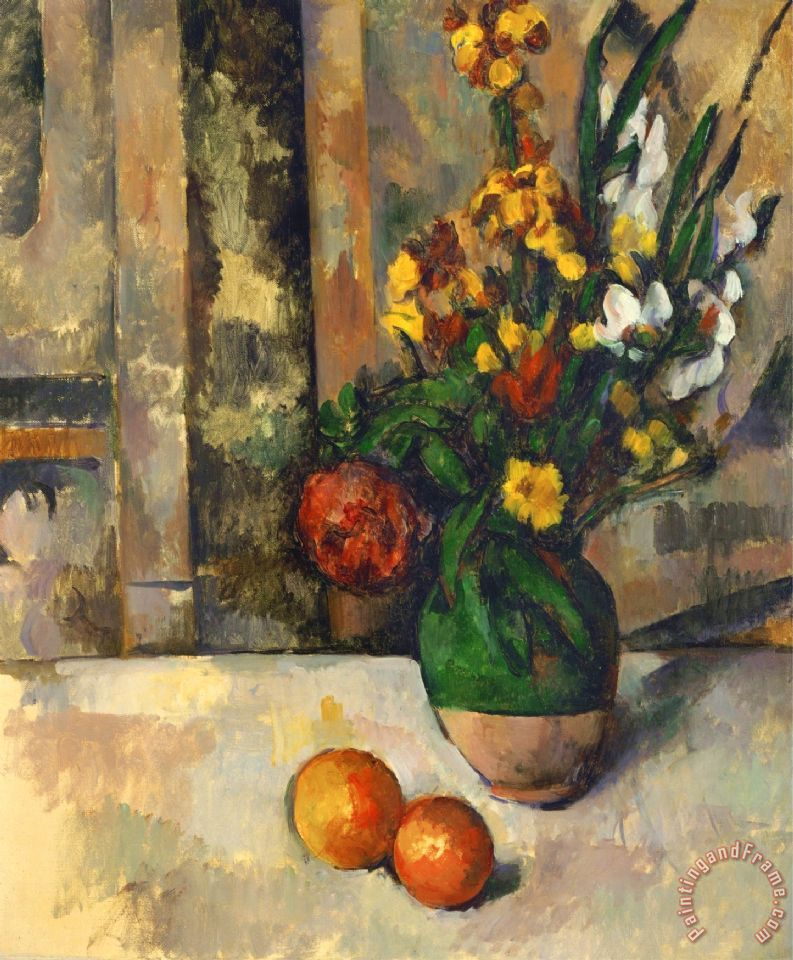 Paul Cezanne Vase And Apples Painting Vase And Apples Print For Sale