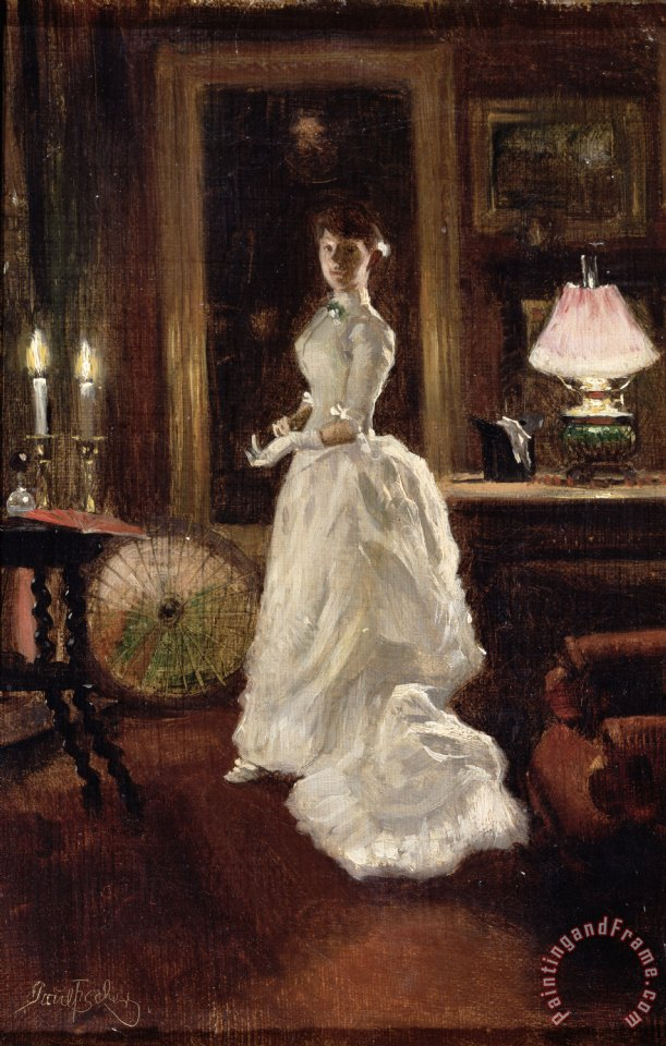 Interior scene with a lady in a white evening dress painting - Paul Fischer Interior scene with a lady in a white evening dress Art Print