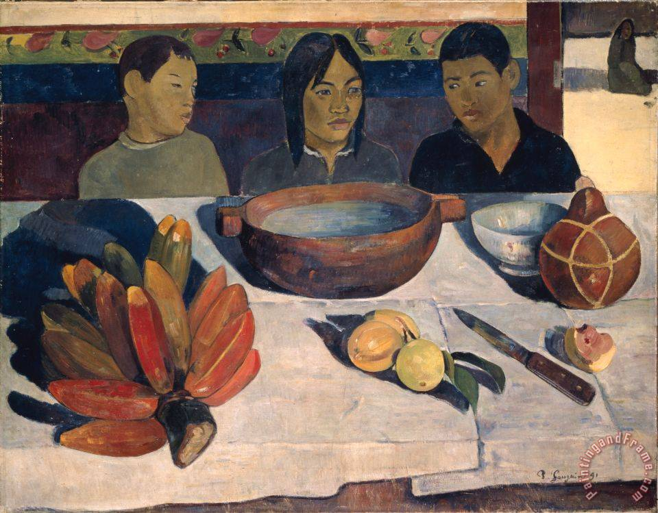 The Meal painting - Paul Gauguin The Meal Art Print