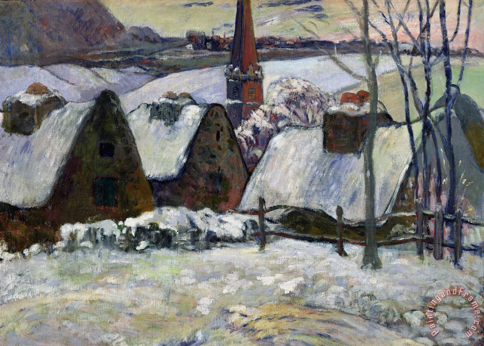 Paul Gauguin Breton village under snow Art Print
