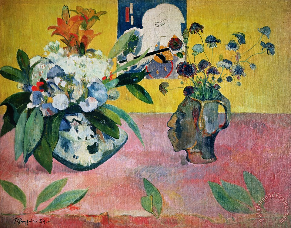 Flowers and a Japanese Print painting - Paul Gauguin Flowers and a Japanese Print Art Print