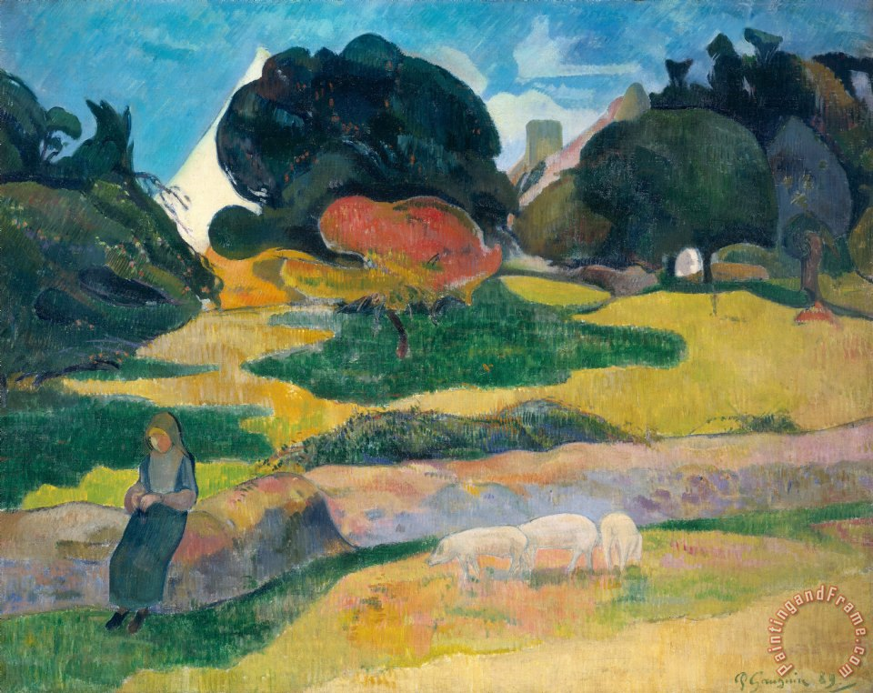 Paul Gauguin Girl Herding Pigs Art Painting