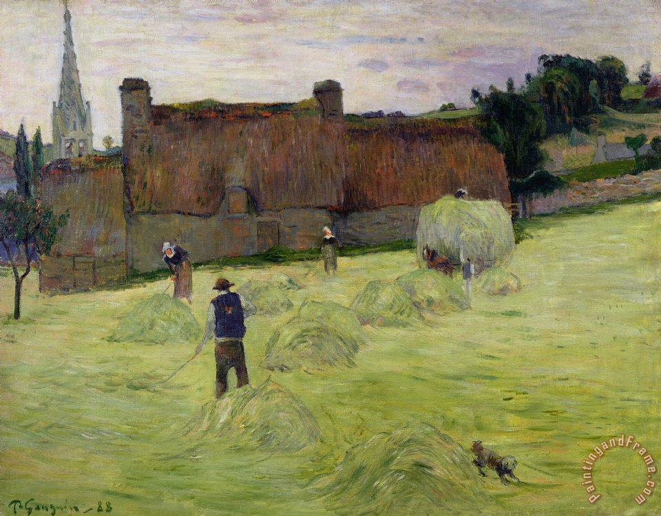 Paul Gauguin Haymaking in Brittany Art Print