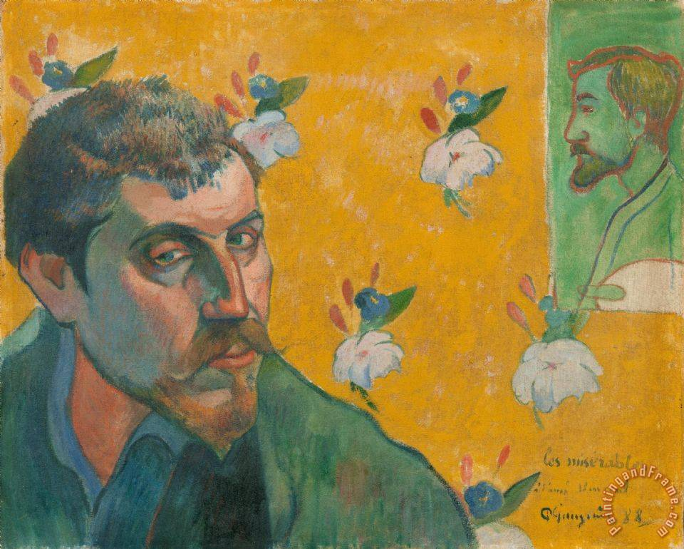 Self Portrait with Portrait of Bernard, 'les Miserables' painting - Paul Gauguin Self Portrait with Portrait of Bernard, 'les Miserables' Art Print