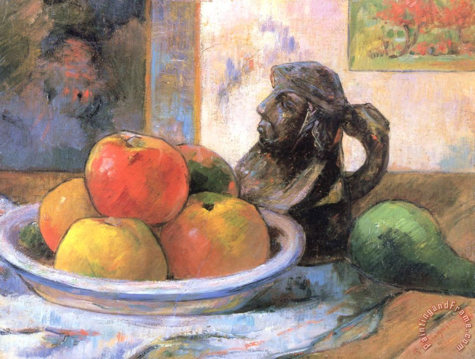 Paul Gauguin Still Life with Apples, a Pear, And a Ceramic Portrait Jug Art Print