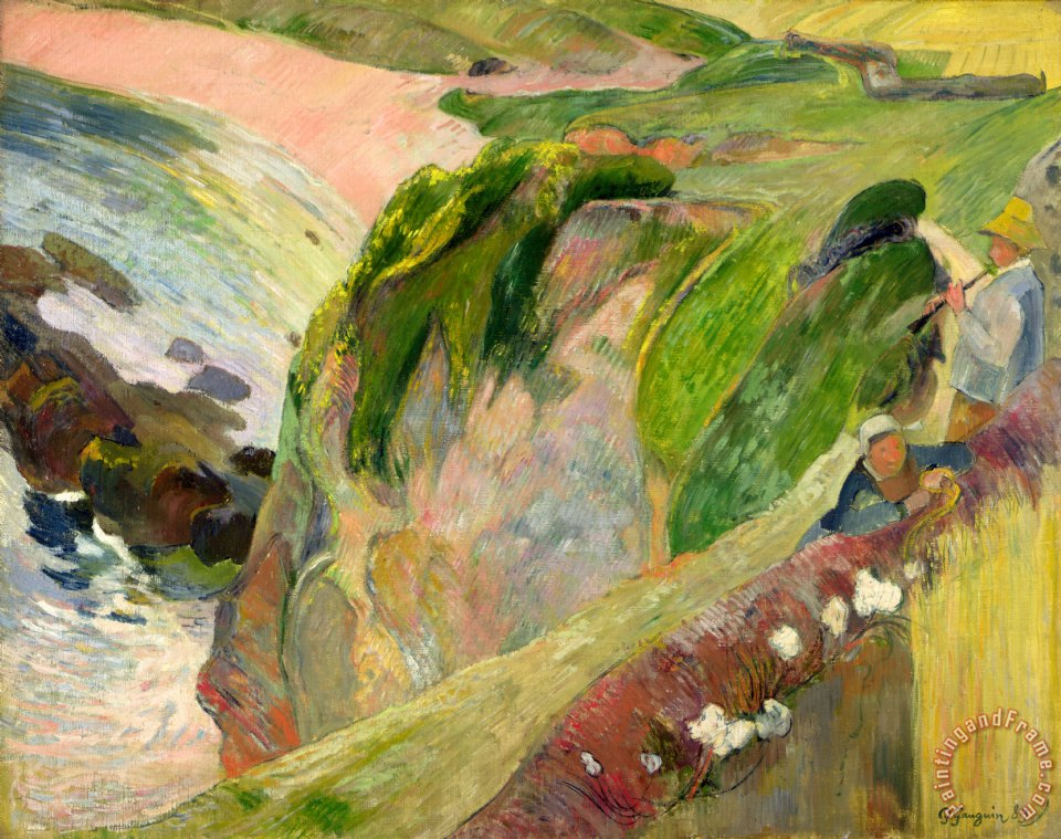Paul Gauguin The Flageolet Player on the Cliff Art Print