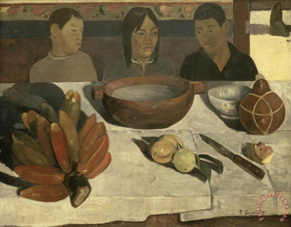 The Meal (the Bananas) painting - Paul Gauguin The Meal (the Bananas) Art Print