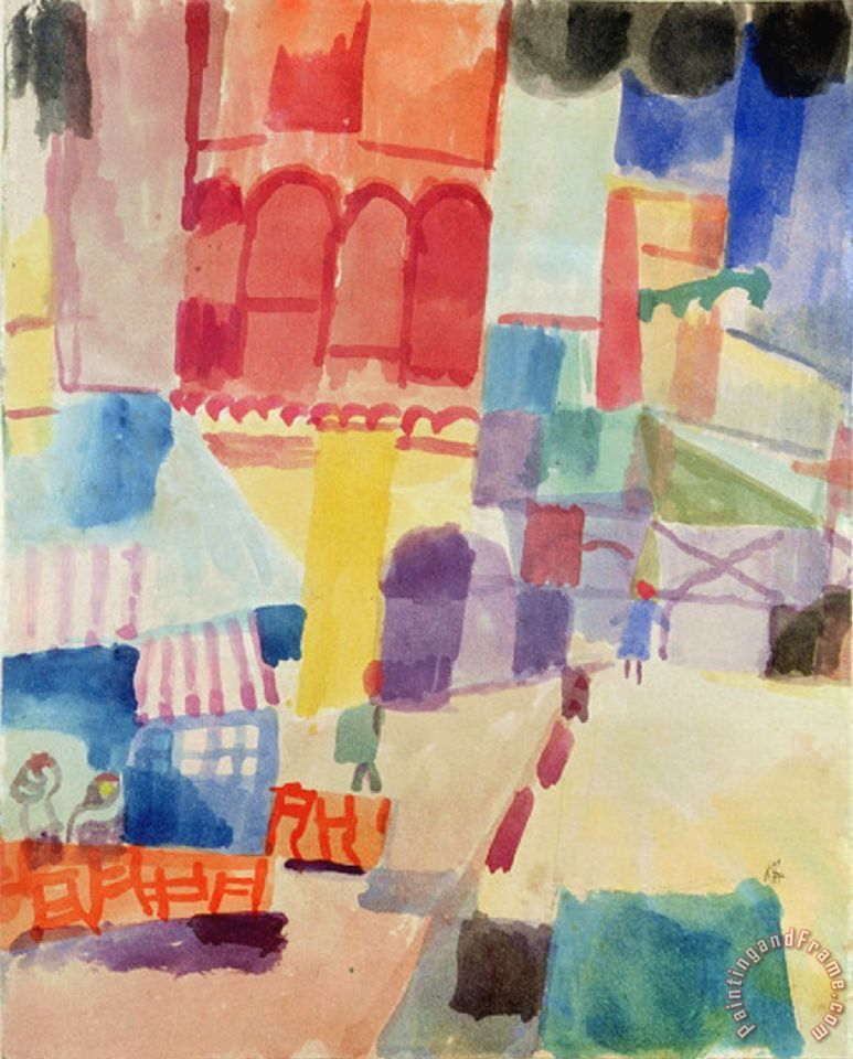 Paul Klee In Front Of A Mosque In Tunis 1914 Painting