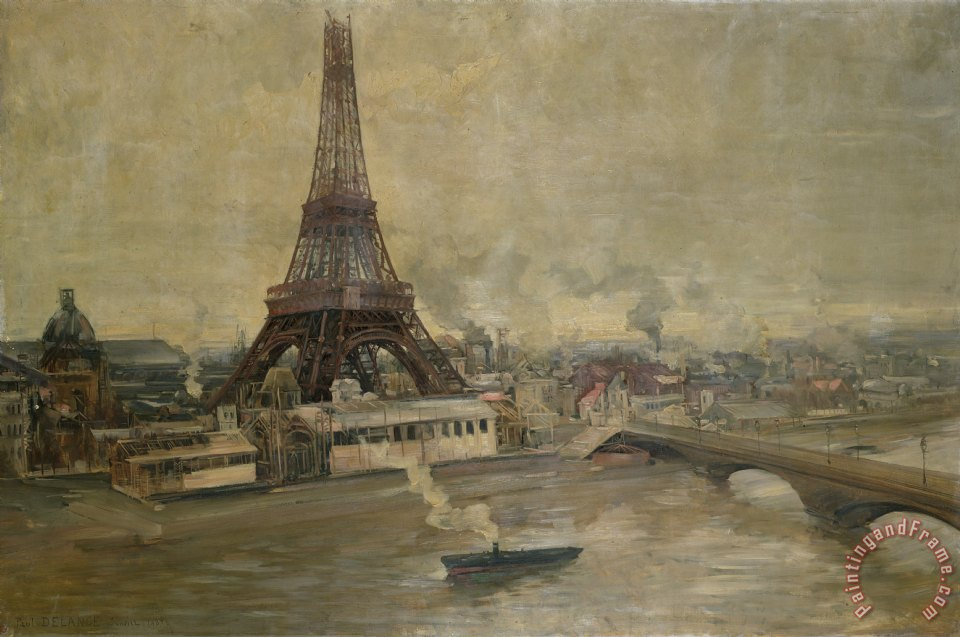 The Construction of the Eiffel Tower painting - Paul Louis Delance The Construction of the Eiffel Tower Art Print