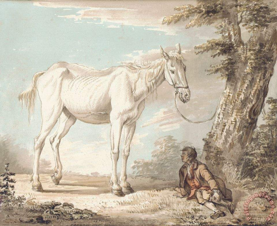 paul sandby an old grey horse tethered to a tree a boy resting