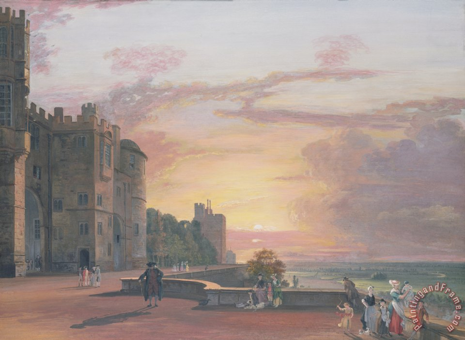 Windsor Castle North Terrace looking west at sunse painting - Paul Sandby Windsor Castle North Terrace looking west at sunse Art Print