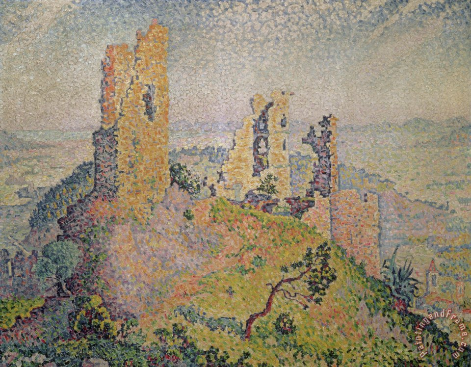Paul Signac Landscape with a Ruined Castle Art Painting