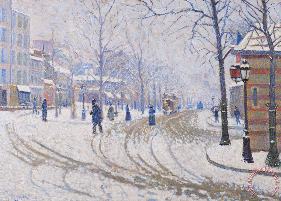 Snow Boulevard De Clichy Paris painting - Paul Signac Snow Boulevard De Clichy Paris Art Print