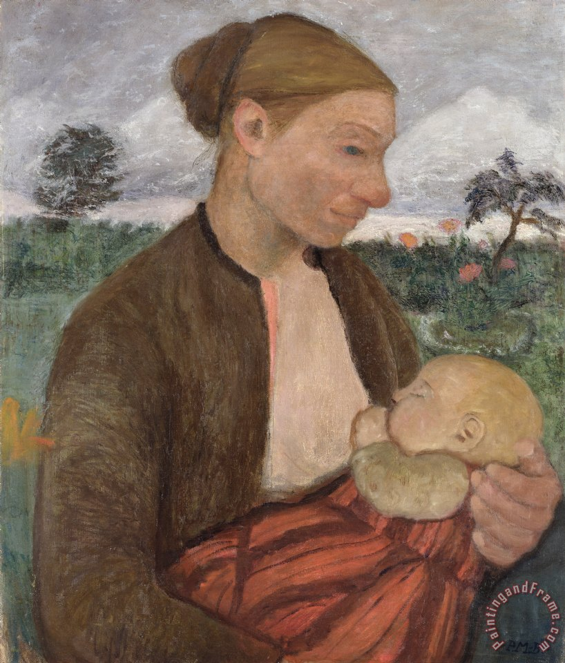 Mother and Child painting - Paula Modersohn-Becker Mother and Child Art Print
