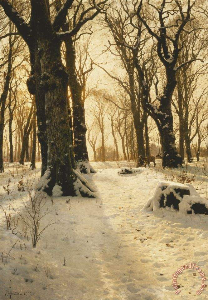 A Wooded Winter Landscape With Deer painting - Peder Monsted A Wooded Winter Landscape With Deer Art Print