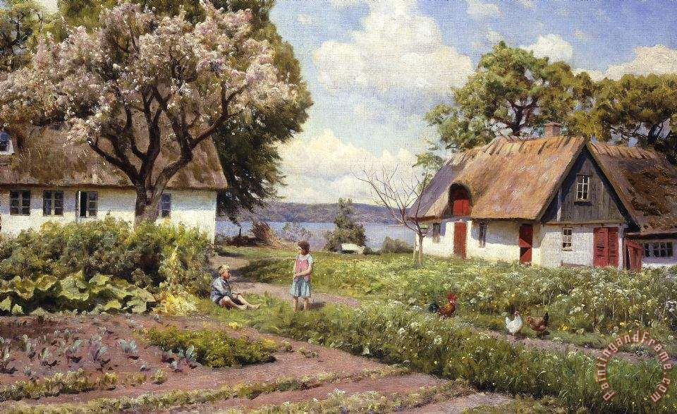 Children In A Farmyard painting - Peder Monsted Children In A Farmyard ...