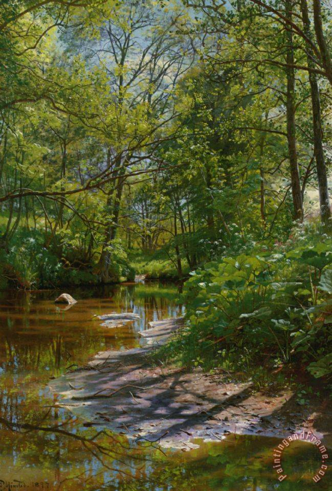A River Landscape painting - Peder Mork Monsted A River Landscape Art Print