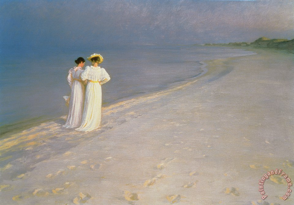 Summer Evening on the Skagen Southern Beach with Anna Ancher and Marie Kroyer painting - Peder Severin Kroyer Summer Evening on the Skagen Southern Beach with Anna Ancher and Marie Kroyer Art Print