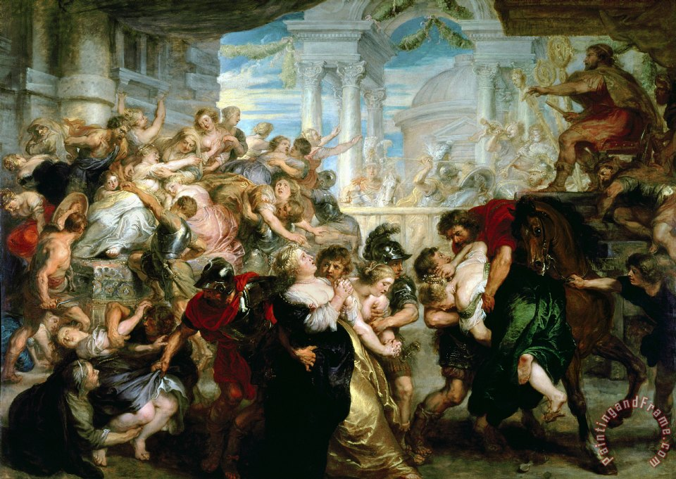 The Rape of the Sabine Women painting - Peter Paul Rubens The Rape of the Sabine Women Art Print