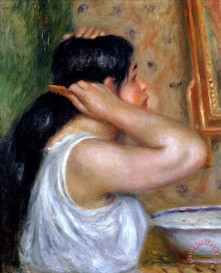 Girl Combing her Hair painting - Pierre Auguste Renoir Girl Combing her Hair Art Print