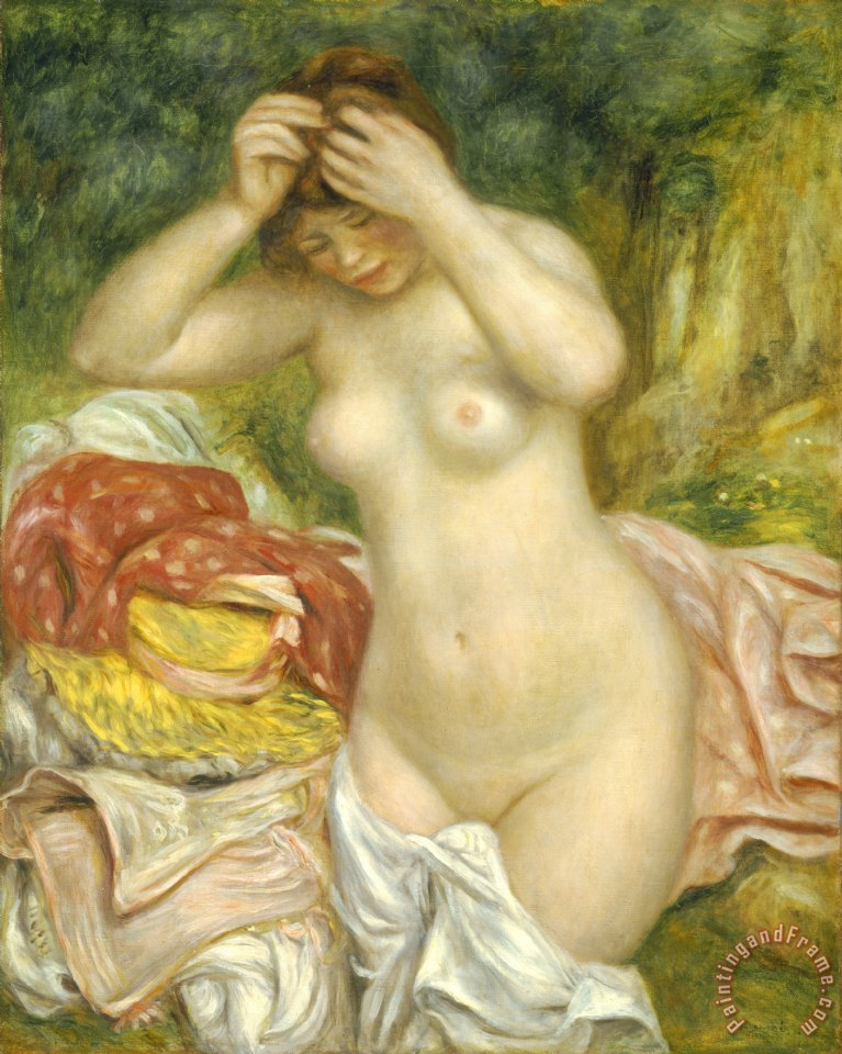 Bather Arranging Her Hair painting - Pierre Auguste Renoir Bather Arranging Her Hair Art Print