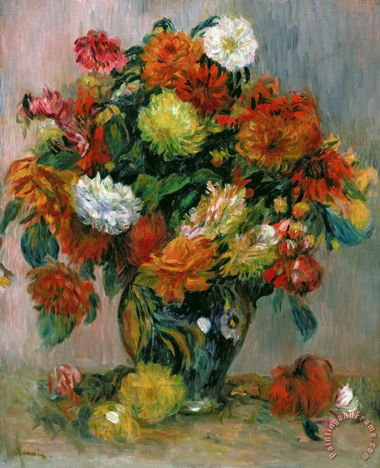 Pierre Auguste Renoir Vase Of Flowers Painting Vase Of Flowers