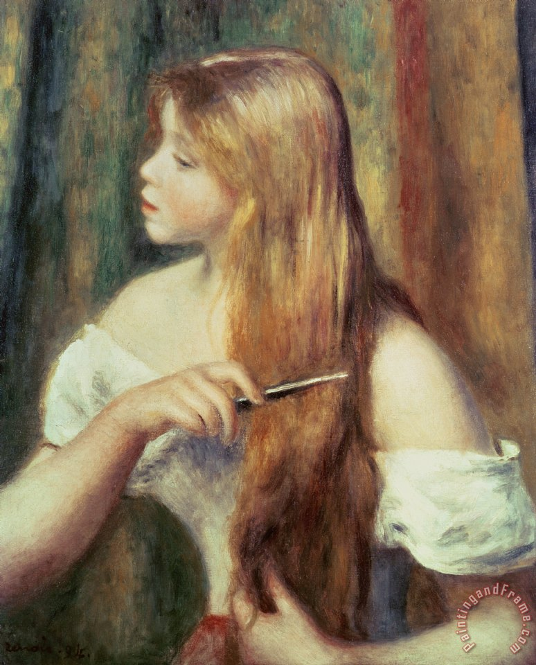Pierre Auguste Renoir Blonde girl combing her hair Art Painting