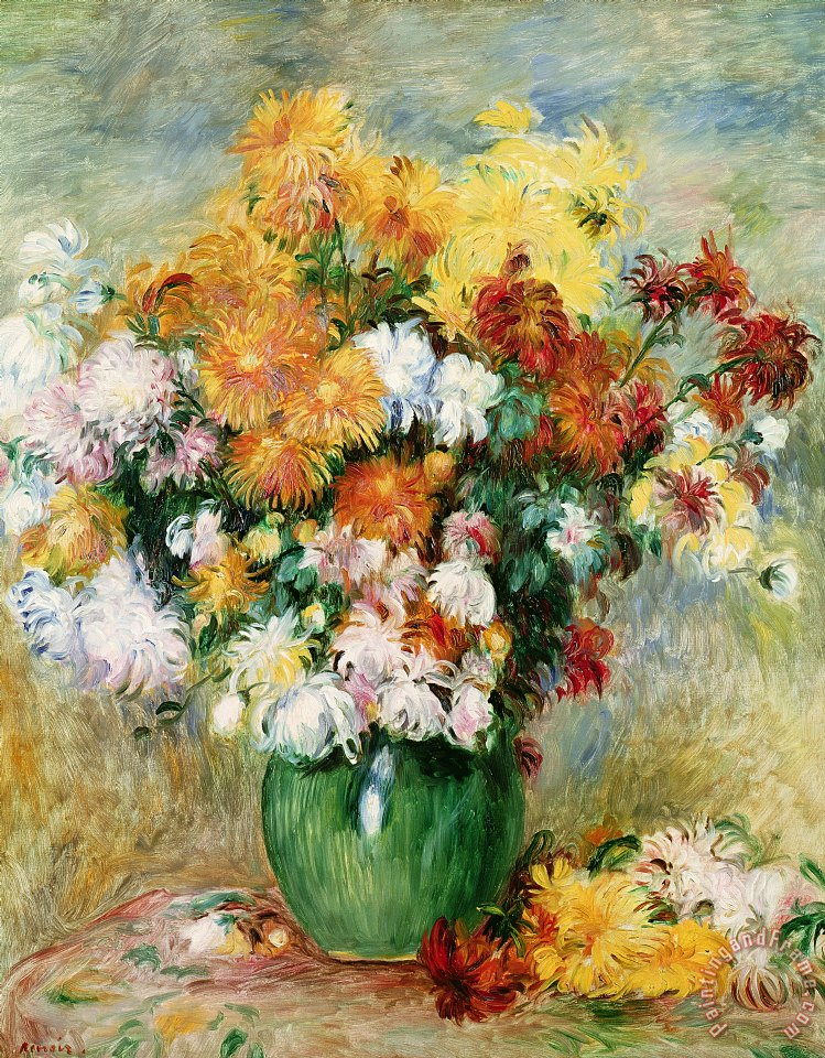 Bouquet of Chrysanthemums painting - Pierre Auguste Renoir Bouquet of Chrysanthemums Art Print