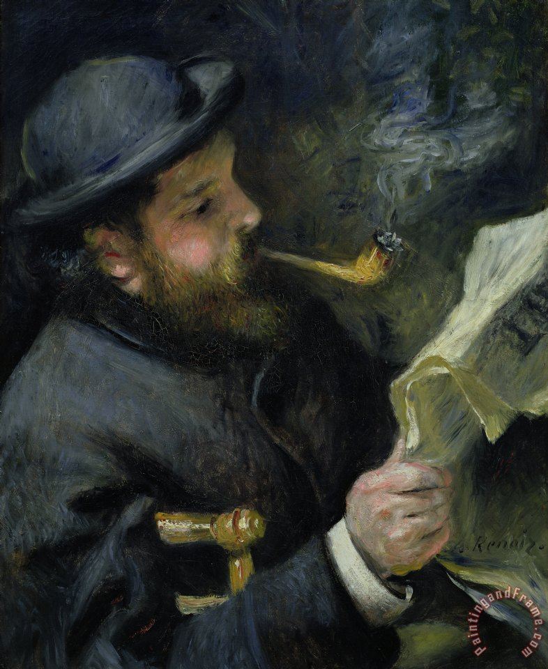 Pierre Auguste Renoir Claude Monet reading a newspaper Art Print