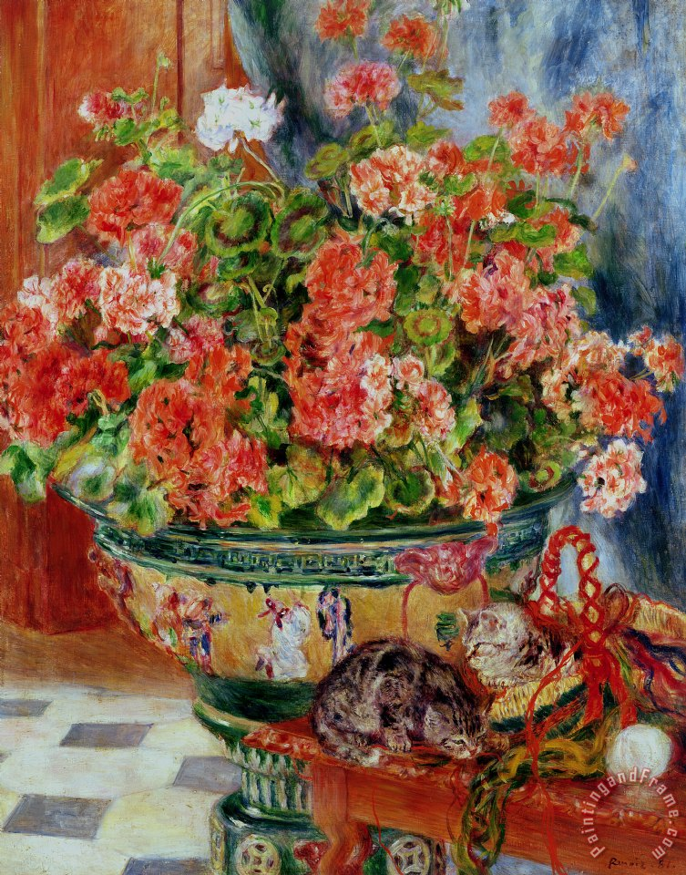 Geraniums and Cats painting - Pierre Auguste Renoir Geraniums and Cats Art Print