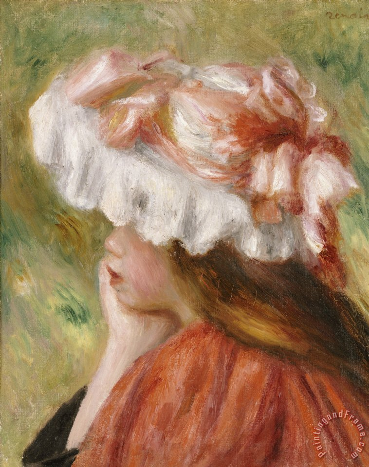 Head of a Young Girl in a Red Hat painting - Pierre Auguste Renoir Head of a Young Girl in a Red Hat Art Print