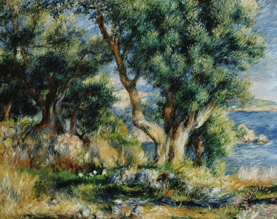 Pierre auguste renoir landscape near menton painting for Nearby landscapers