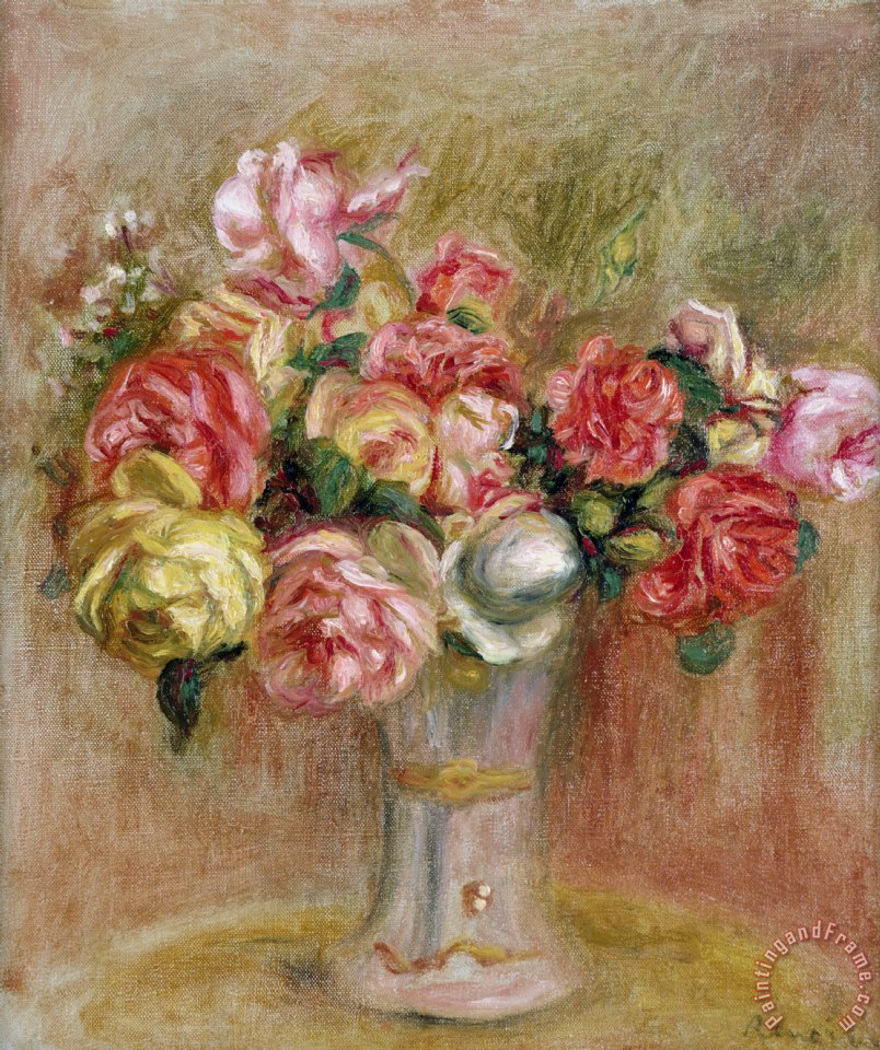 Roses in a Sevres Vase painting - Pierre Auguste Renoir Roses in a Sevres Vase Art Print