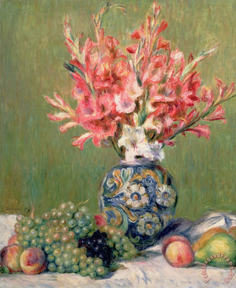 Pierre Auguste Renoir Still life of Fruits and Flowers Art Print
