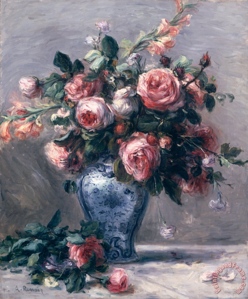 Vase of Roses painting - Pierre Auguste Renoir Vase of Roses Art Print