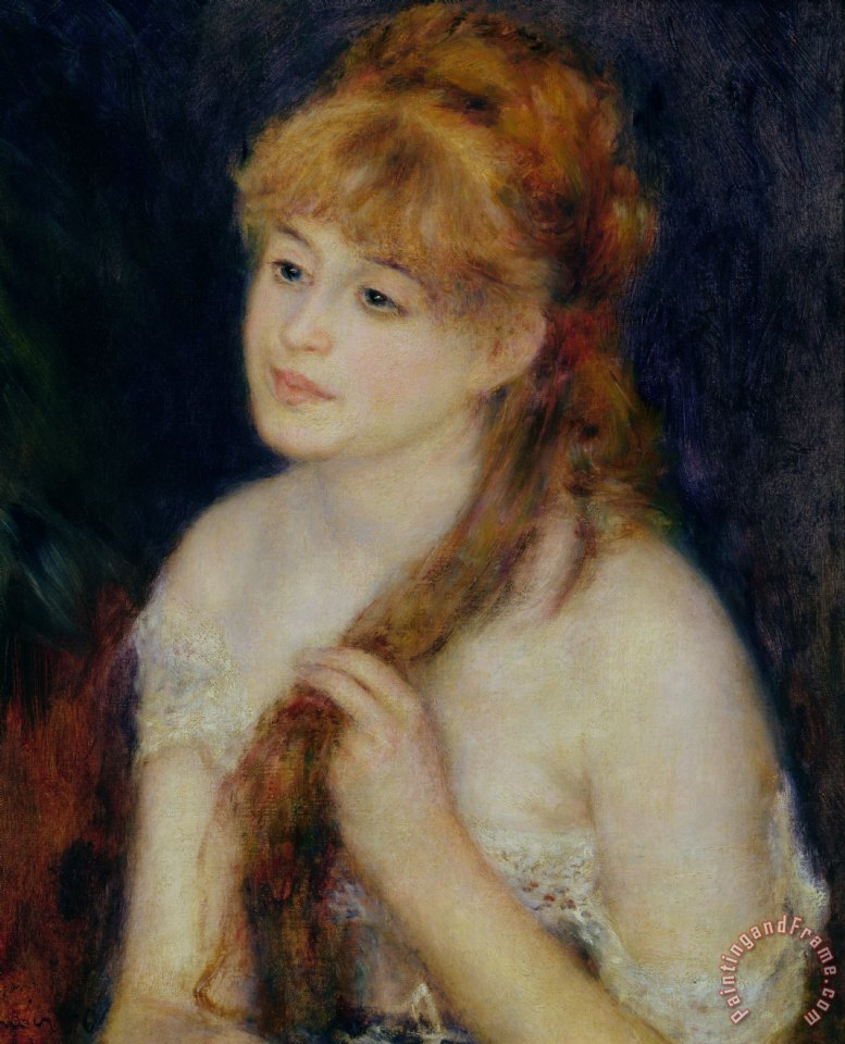 Pierre Auguste Renoir Young Woman Braiding her Hair Art Painting