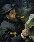 Claude Monet reading a newspaper by Pierre Auguste Renoir